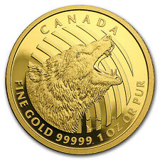 2016 Canada 1 oz Gold Roaring Grizzly Bear .99999 Proof - SKU #95958