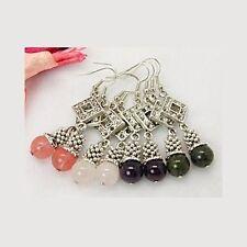 Wholesale Lot 12 Mix Tibetan Silver Gemstone Bead Dangle Earring Amethyst Quartz