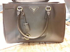 Prada Saffiano Lux Gray Double Small Zipper Shoulder HandBag Bag Purse Leather