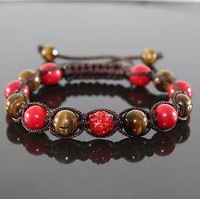Damen Edelstein Tiger Auge Shamballa Armband  Cubic Zirkon Rot/Braun für Frauen