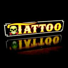 New LED Tattoo Parlor Shop Skull Horizontal Sign Light Box, Neon Alternative