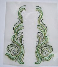 TRIM / COLLAR GREEN RHINESTONE IRON ON APPLIQUE / HOT FIX TRANSFER