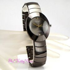 Omax Retro Gunmetal Black Tone Ceramic Lupah Style Mens Gents Dress Watch HB0919