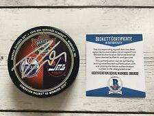 Leon Draisaitl Signed 2016 Heritage Classic Oilers Hockey Puck Beckett BAS COA a