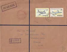 J 1777 Rhodesia 1979 registered air cover to UK; 42c rate; aeroplane stamps used