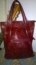 Tula Red Cracked Patent Leather Tote Bag