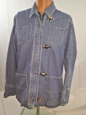 Ralph Lauren Jeans Co Striped Denim Engineer Jacket Toggle Buckle PM Steampunk