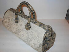 Clever Carriage Co Snake Print Leather Large Dr Satchel Woven String #1091