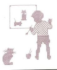 Quieto Boy blackwork Cross Stitch Kit (Classic Bordado) 9cm X 10 Cm