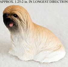 Lhasa Apso Mini Resin Dog Figurine Statue Hand Painted Brown