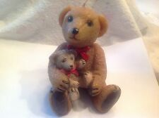 candle-- mama and baby bear- steiff plate -bear figurene