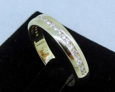 R510- Genuine 9K Solid Gold Natural Diamond Half-eternity Wedding Ring size O