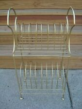 Vintage Mid Century Gold Metal Wire Record Vinyl Storage Stand Table