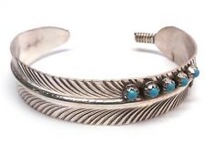 Native Navajo Sterling Silver Turquoise Feather Bracelet - Vivian Jones