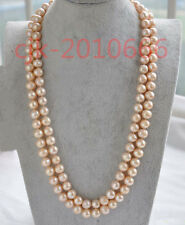 charming 9-10mm Australian south sea gold pink pearl necklace 36 inch 14K CLASP