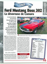 Ford Mustang Boss 302 1969 USA Car Auto FICHE FRANCE