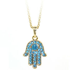 "Gold Color Hamsa Hand of Fatima Pendant with Blue Crystals and 16"" Chain"