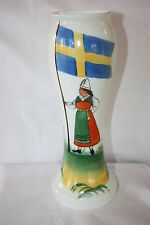 ANTIQUE JOHANSFORS HAND BLOWN BRISTOL MILK GLASS VASE HAND PAINTED VINGAKER