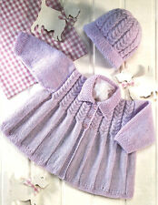 "Baby Matinee Coat with Collar & Pull On Hat 16 - 22""  4 Ply Knitting Pattern"