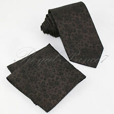 Classic Floral Paisley Neck tie and & Pocket Square Hankie Formal Party Wedding