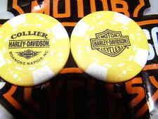 Harley Yellow & White Poker Chip Collier Harley Davidson Roanoke Rapids, NC