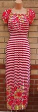 BL FASHION LYCRA STRIPED WHITE PINK STRIPE FLORAL NAUTICAL LONG MAXI DRESS M L