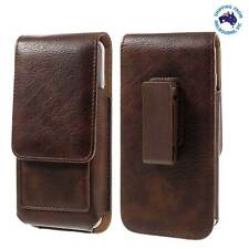 BROWN LEATHER PHONE CASE COVER CARD  POUCH BELT CLIP FOR TELSTRA TOUGH MAX LTE