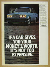 1980 Volvo GLE blue sedan car photo vintage print Ad