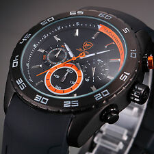 Men's Orange Dial SHARK Sport Chronograph Analog Rubber Band Quartz Wrist Watch