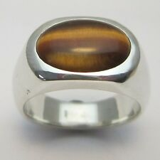 MJG STERLING SILVER MEN'S RING.14 x 10mm OVAL TIGER EYE CAB. SIZE 10.