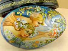 "RUSSIAN LACQUER HANDPAINTED BOX ""ADAM & EVA"" VILLAGE FEDOSKINO"