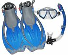 Aqua Lung Snorkel, Fins, Mask Blue Fin Size Mens 4 1/2-8 1/2, Women 5 1/2-9 1/2