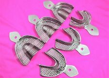 DENTAL STAINLESS STEEL PERFORATED IMPRESSION EDENTULOUS TRAYS AUTOCLAVABLE 6/SET