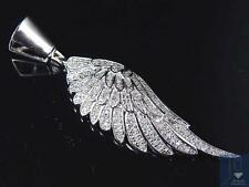 Exclusive 10K White Gold Genuine Diamond Wing Of An Angel Pendant (0.50Ct) 2.0""