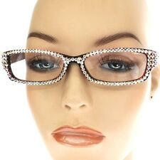+2.00 READING GLASSES w AB AURORA BOREALIS Crystal Studded Crystal Bling BROWN