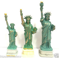 "3 PCS Statue of Liberty Replica Figurine w.Flag Base Souvenir from NYC 4"" 5"""