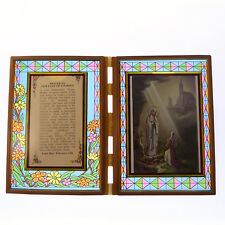 Stained glass double frame with Prayer to Our Lady of Lourdes & image 18cm gift