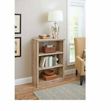 3 Shelves Wood Bookcase Adjustable Rustic Book Shelf Storage Country Bookshelf