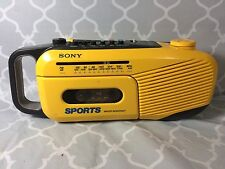 Vintage Sony CFM-101 Sports Water Resistant Cassette Radio Yellow