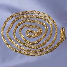 Womens 19 inch Long Necklace 18K Yellow Gold Plated Water Wave Chain For Pendant