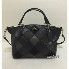 New COACH F56848 Metallic Patchwork Kelsey Leather Satchel Bag Crossbody Handbag