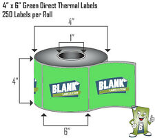 GREEN 2 Rolls 4x6 Direct Thermal Labels Rolls 250 / 500. For Eltron Zebra 2844