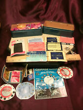 2 Vtg Koyo sewing machine tin box & Moulin yarn/needles/hooks/fastners-free ship