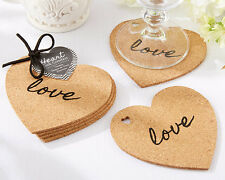 Heart Cork Coasters Set Wedding Bridal Shower Favors Gift Q31982