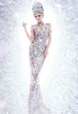Sexy Women's Silver Sequins Pageant Dress Mermaid Cosplay Costume One Size