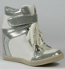 White Silver Two Tone High Top Fashion Wedge Sneakers Ankle Boot 8.5 us Sue-1
