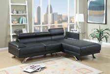 Modern Black Bonded Leather Furniture Couch Chaise Lounge Sectional Sofa Metal