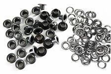 100 6mm Eyelets Metal Grommets Washers in Gunmetal Black Shoes Leather Crafts