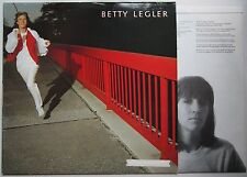 Betty Legler 1981 LP + Innerbag Singer Songwriter Folk