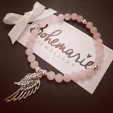 Rose Quartz angel wing bracelet gemstone protection bijoux jewellery boho